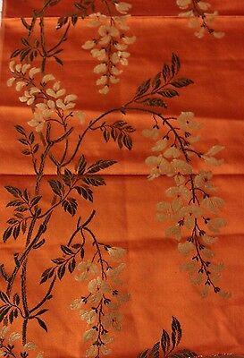 "French Antique (c1870) Silk Brocade Textile Fabric~Wisteria~Chinoiserie~29""X24"""