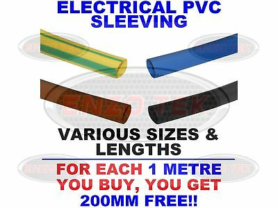 Flexible PVC Earth / Black / Brown / Blue Sleeving Wiring All Sizes & Lengths