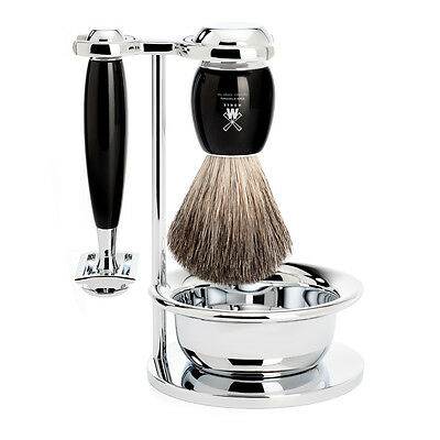 Muhle VIVO Black & Chrome Shaving Set - Stand, Bowl, Safety Razor, Shaving brush