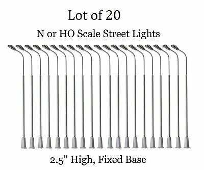 "20 New Ho or N Scale Model Railroad Street Lights - Single head LED - 2.5""In #AA"