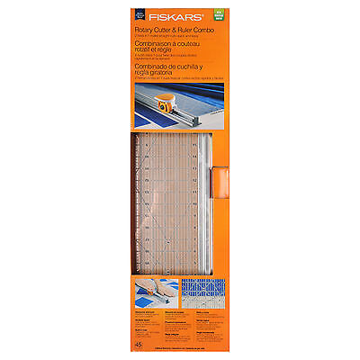 "45mm Fabric Rotary Cutter and 6 x 24"" Ruler Combo By Fiskars"