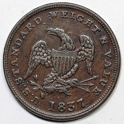 1837 Low-49 Half Cent Worth of Copper Hard Times Token 1/2c
