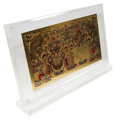 Lebanon (Syria) 100 Livres (Pounds), 1945, P-53,UNC,Gold Plated in Acrylic Frame