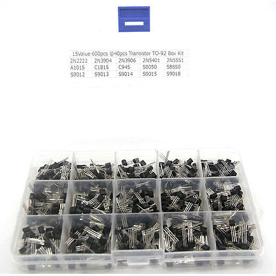 15value 600pcs Transistor TO-92 with Assortment Box Component Assorted Kit Set