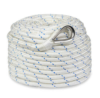 """New 200'x5/8"""" Braided Nylon Boat Anchor Rope/Line with Thimble"""