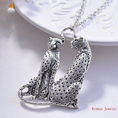 Tibet Silver Tigers Leopard Head Body Pendants Long Necklace Sweater Chains NEW