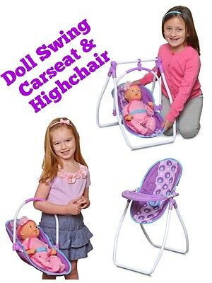 """New Baby Doll High Chair Swing & Carrier Car Seat For Baby Up To 18"""" Long"""