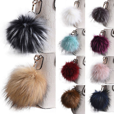 "Large Faux Fur Key Chain 5"" Pom Pom Ball Fashion Purse Punk Phone Pendant Charm"