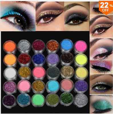 30 Colors 1 Set Glitter Spangle Eye Shadow Powder Pigment Kit Makeup Cosmetic