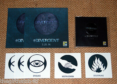 DIVERGENT Patch Button Tattoo 8pc LOT Comic Con SDCC Shailene Woodley INSURGENT