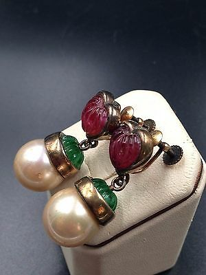 Gorgeous Antique Vintage Earrings Flawed Emerald Ruby Crystals Melon Cut Signed!