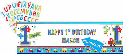 All Aboard Boy 1st Birthday Party Supplies GIANT PERSONALISED BANNER 65 x 20inch