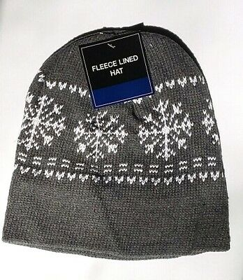 5f0f06f1 GRAY MENS WOMENS KNIT FLEECE Lined Beanie Hat Cap Warm Winter SnowFlake