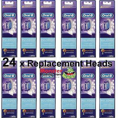 24 X Oral B Pulsonic Electric Toothbrush Replacement Spare Brush Heads Genuine