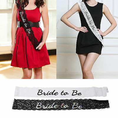 Black White Lace Bride To Be Sashes Hens Night Party Engagement Bridal Bachelore
