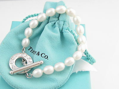 Tiffany & Co Silver Pearl Toggle Bracelet Box Pouch Included