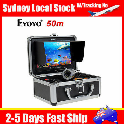 """AU! 50m Underwater 7"""" TFT LCD Video Camera System Fishing Fish Finder+Battery"""