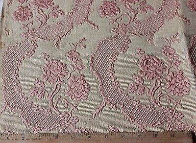 "French Antique Pink Silk Roses & Lace Matelasse Fabric Sample c1870~L-21""X W-25"""