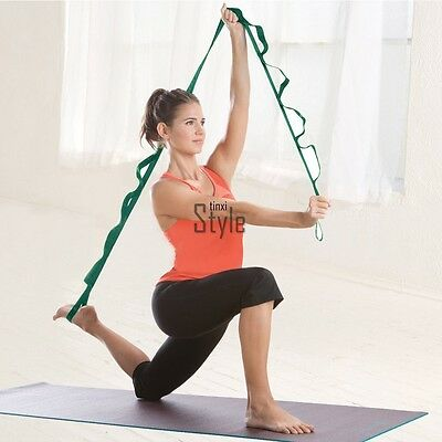 Gym Yoga Stretch Out Strap Exercise Booklet Fitness Equipment Activity Gear Belt