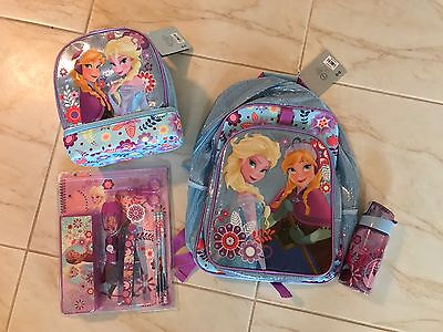 Disney Store Frozen Anna Elsa Backpack Lunch Tote Box School Stationary Set