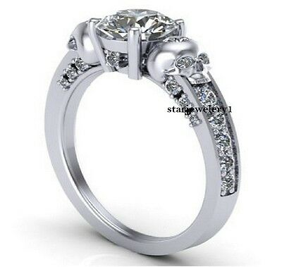 1.65ct White Round Cut Diamond Two Skull Engagement Wedding Ring Sterling Silver