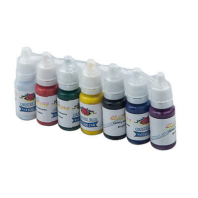 Professional 7 Color Tattoo Ink Pigment Supplies Set Kit 15ml 1/2 oz ounce BT