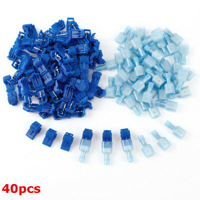 40pcs Cable Connectors T-Taps & Male Insulated Quick Splice Lock Wire Terminals