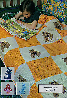 Crochet & Knitting Pattern Afghans Aran Horse Pannelled Throw Alternating Square