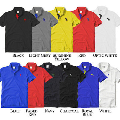 Abercrombie & Fitch Kids Childrens Polo Shirt Top Blue Grey Red XS S M L XL