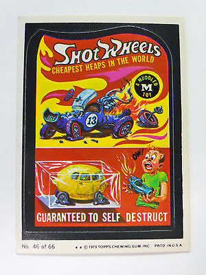 VINTAGE! 1979 Topps Wacky Packages Trading Card #46-Shot Wheels-Hot Wheels