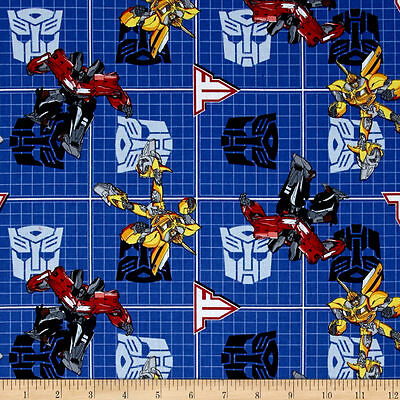 Transformers Bumblebee Optimus Prime Patch Blue Cotton Quilting Fabric 1/2 YARD