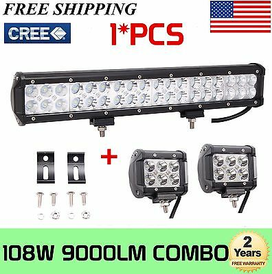 """17inch 108W Cree Led Light Bar Combo + 2X4"""" 18W Work Pods Offroad Bumper SUV 4WD"""