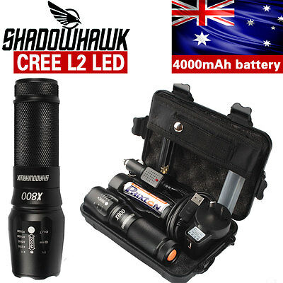 5000lm Genuine Shadowhawk X800 Tactical LED Flashlight kit Zoomable Torch light