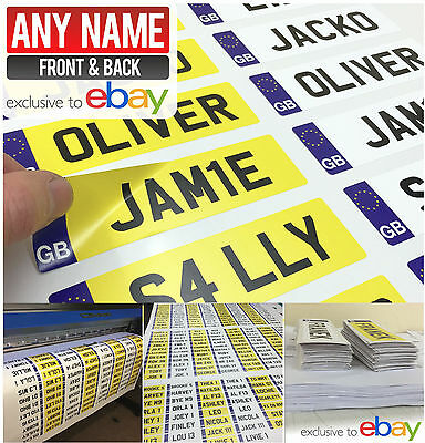 2x Personalised Kid's GB NUMBER PLATE FOR CHILDS RIDE ON CAR, JEEP, TRUCK plates