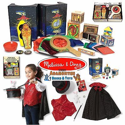 Melissa Doug Wooden Discovery Deluxe Magic Set Tricks Magician Role Play Toy