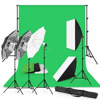 YKS Studio Photography Kit 4 Light Bulb Umbrella Muslin 3 Backdrop Stand Set NEW
