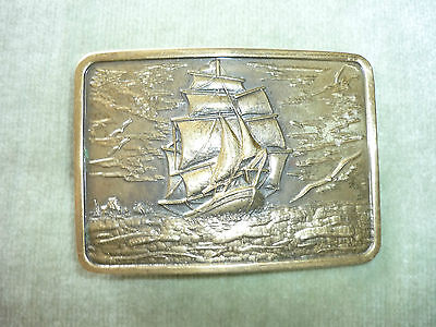Beautiful Solid Brass Belt Buckle/ Clipper Ship In A Storm