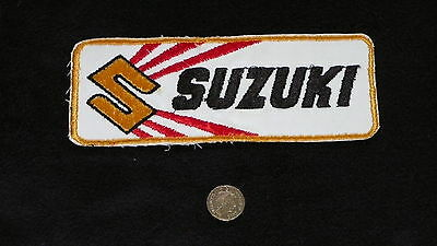 Suzuki Vintage Yellow And Red Oblong Motorcycle Cloth Patch Free Uk Postage