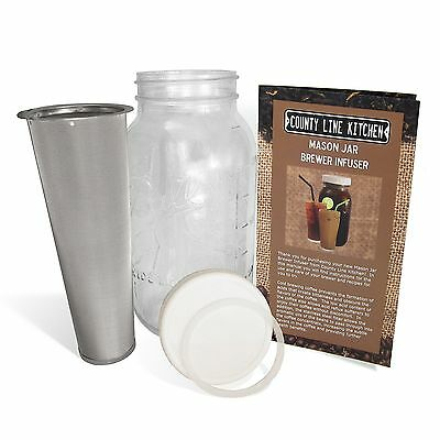 2 Quart - Cold Brew Coffee Iced Coffee and Iced Tea Brewer Infuser Mason Jar ...