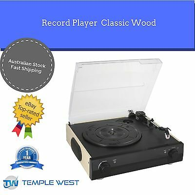 NEW Record Player Turntable Portable Built In Speakers Classic Wood Black USB
