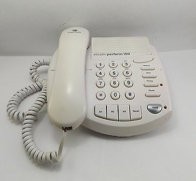 Eircom Perform 100 Wired Telephone Handset Ringer Volume Adjustable Redial White
