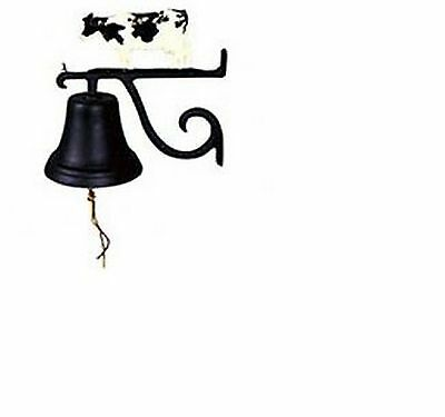 Bell Antique Cast Metal Cow Vintage Farm Dinner Country Rustic Wall Mount Black