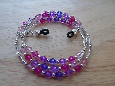 Handmade Pink Purple Beaded Spectacle / Glasses Chain / Necklace.