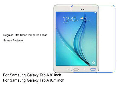 """2xRegular Ultra Clear/Tempered Glass Screen Protector For Galaxy Tab A 8"""" 9.7"""""""