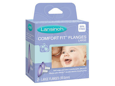 New Lansinoh Affinity Comfort Fit Flanges Large 2 Pack Bpa Free #50428