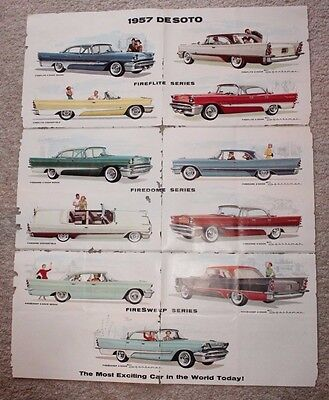 1957 DeSoto Fireflite Firedome Firesweep Dealership Advertising Foldable Poster