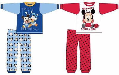 Official Disney Mickey or Minnie Baby Toddler Infants Pyjamas PJs Age Size 6-24