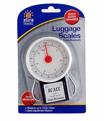 32kg Sure Travel Luggage Scales & Tape Measure - Suitcase Baggage Weighing Weigh