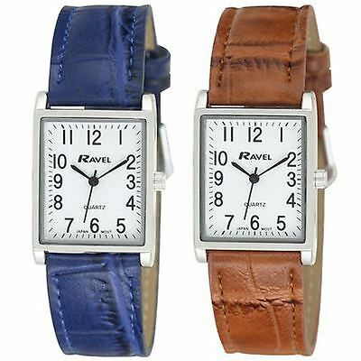 Ravel Ladies Fashion Rectangle Shape Dial Leather Strap Watch R0120