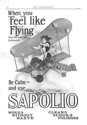 Sapolio Soap  -  Lady in Airplane  -  original advertisement  - 1910